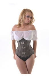 Vixen Brown Leather Underbust  Corset**
